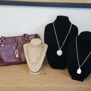 Etienne Aigner purse and jewelry lot